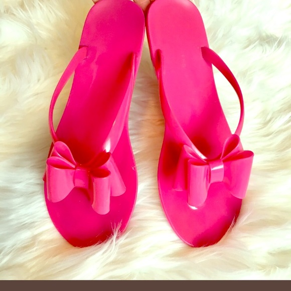 d78e59fe5d2f1a Express Shoes - Express Hot pink bow jelly sandals